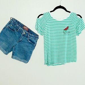 Girls Monteau Top XL & Arizona Jean Shorts 14